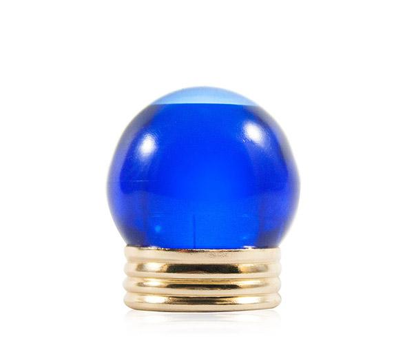 TAPA 15MM BOLA COBALT BLUE CAP W/SHINY GLD MTL RING